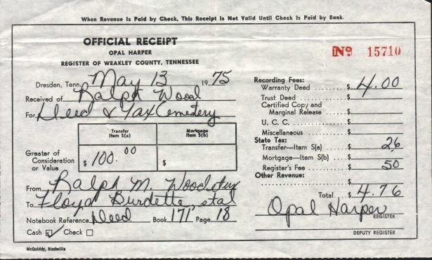 Receipt From Register Of Weakley Co For Wood Cemetery
